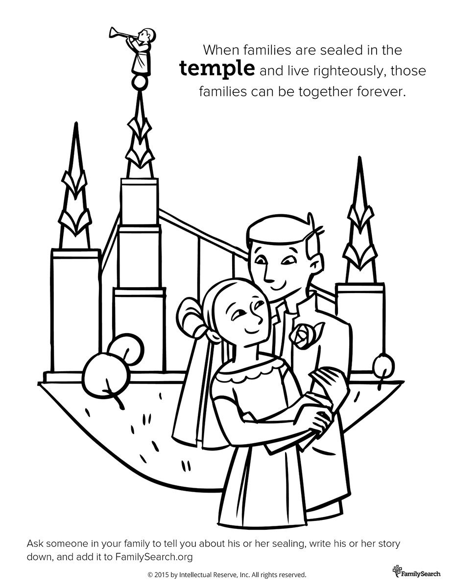 Coloring page for Primary class. Family at the Temple #LDS #Mormon ...