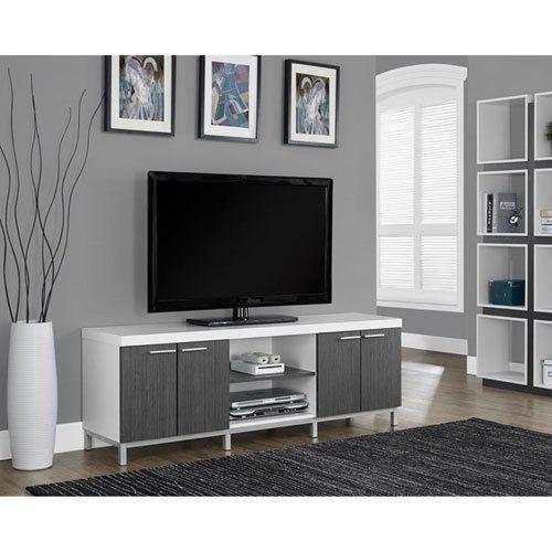 Merveilleux Monarch Specialties White/Grey Hollow Core TV Console, 60 Inch Monarch  Specialties