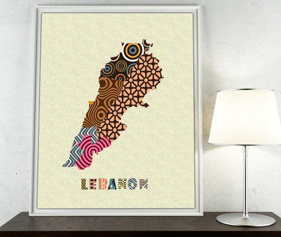 Lebanon Map Art Print Beirut Poster Decor In 2019