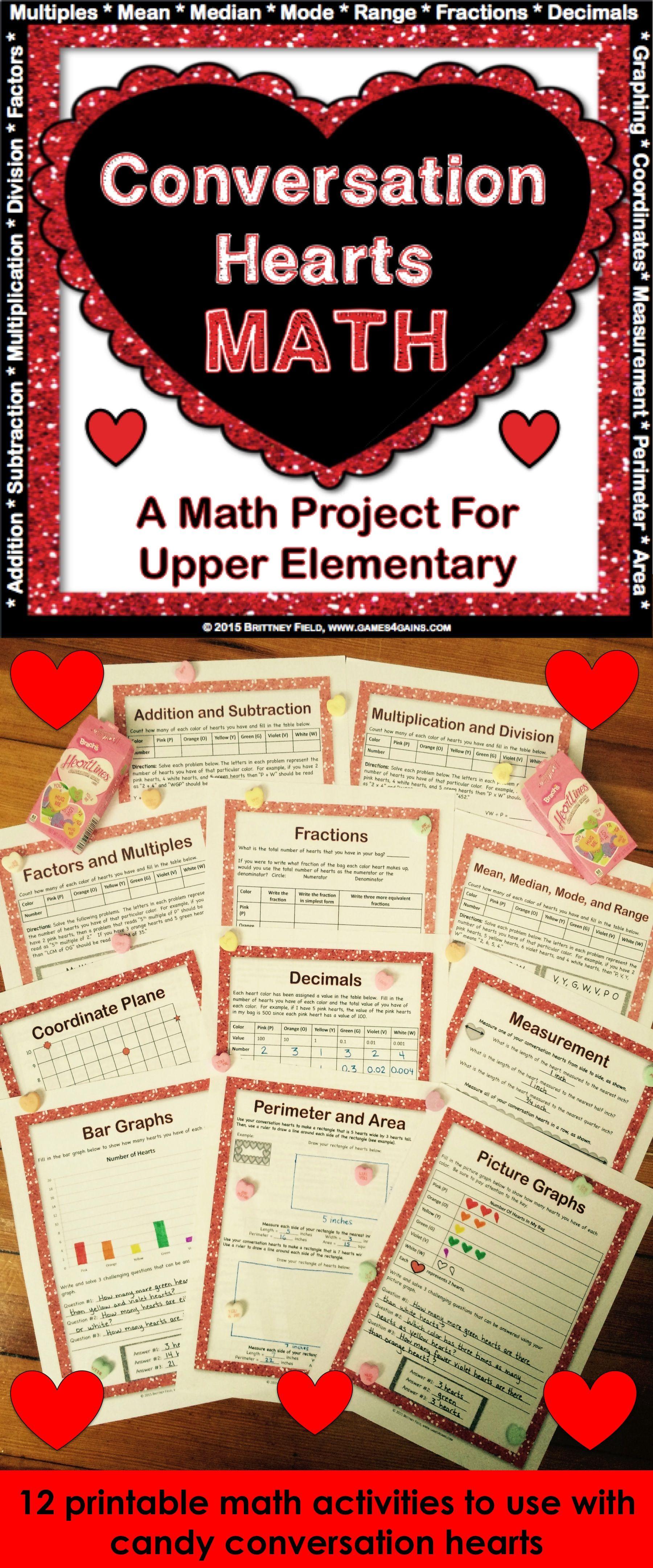 Valentine S Day Activities Valentine S Day Math Conversation Heart Math