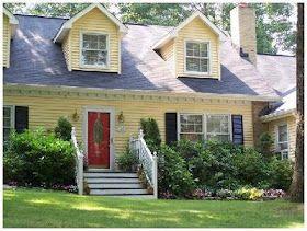 yellow house, black shutters, red door | exteriors | pinterest