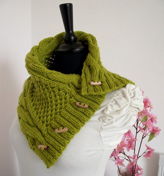 KNITTING COWL PATTERN Alice Cowl Pattern - Scarf Cowl with Buttons ...