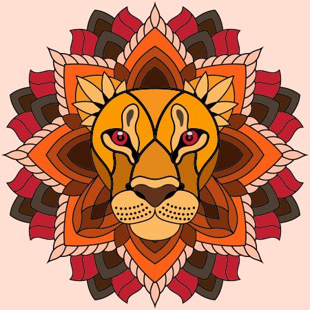 mandala lion coloriage mandala lion en ligne gratuit a imprimer peinture textile tuto. Black Bedroom Furniture Sets. Home Design Ideas