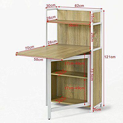 Sobuy® mesa multimedia con puertas con varios estantes y ...