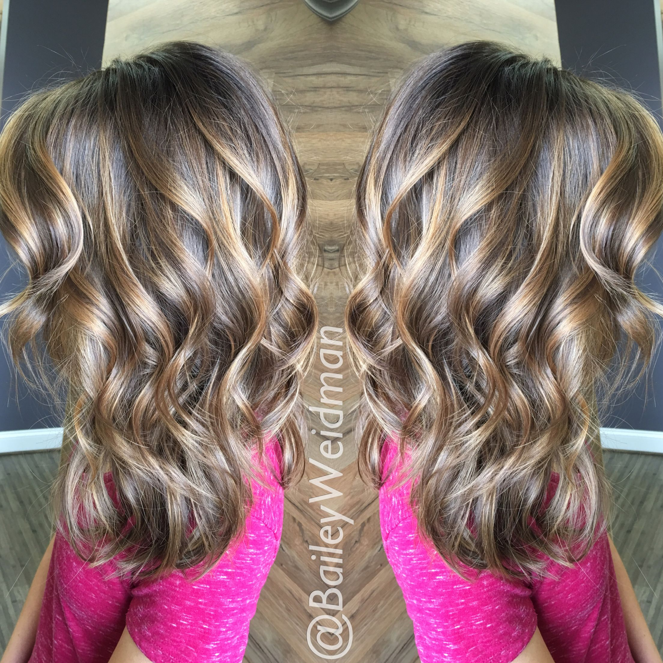 Gorgeous head full of balayage highlights. A lovely pop of color with low maintenance.