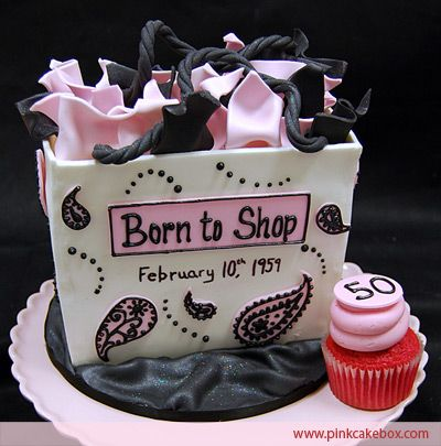 Miraculous Born To Shop Cake Birthday Cakes 50Th Birthday Cake Fondant Personalised Birthday Cards Veneteletsinfo