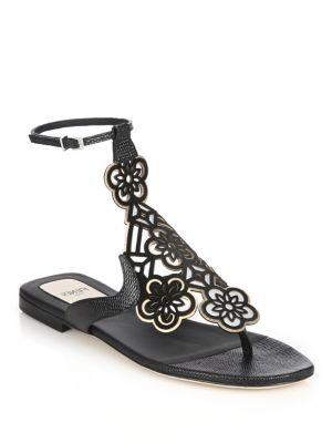 c6b7dc6fdba4e FENDI Marguerite Laser-Cut Leather Ankle-Strap Sandals.  fendi  shoes   sandals
