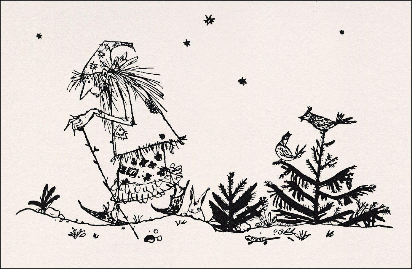 die kleine hexe  illustration book illustration black