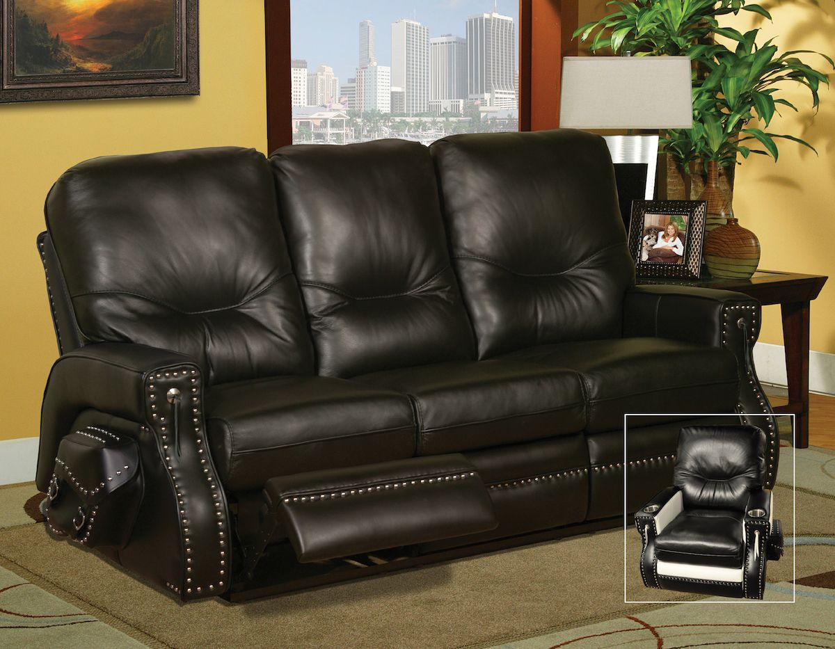 Harley Sofa In American Made Leather Top Grain