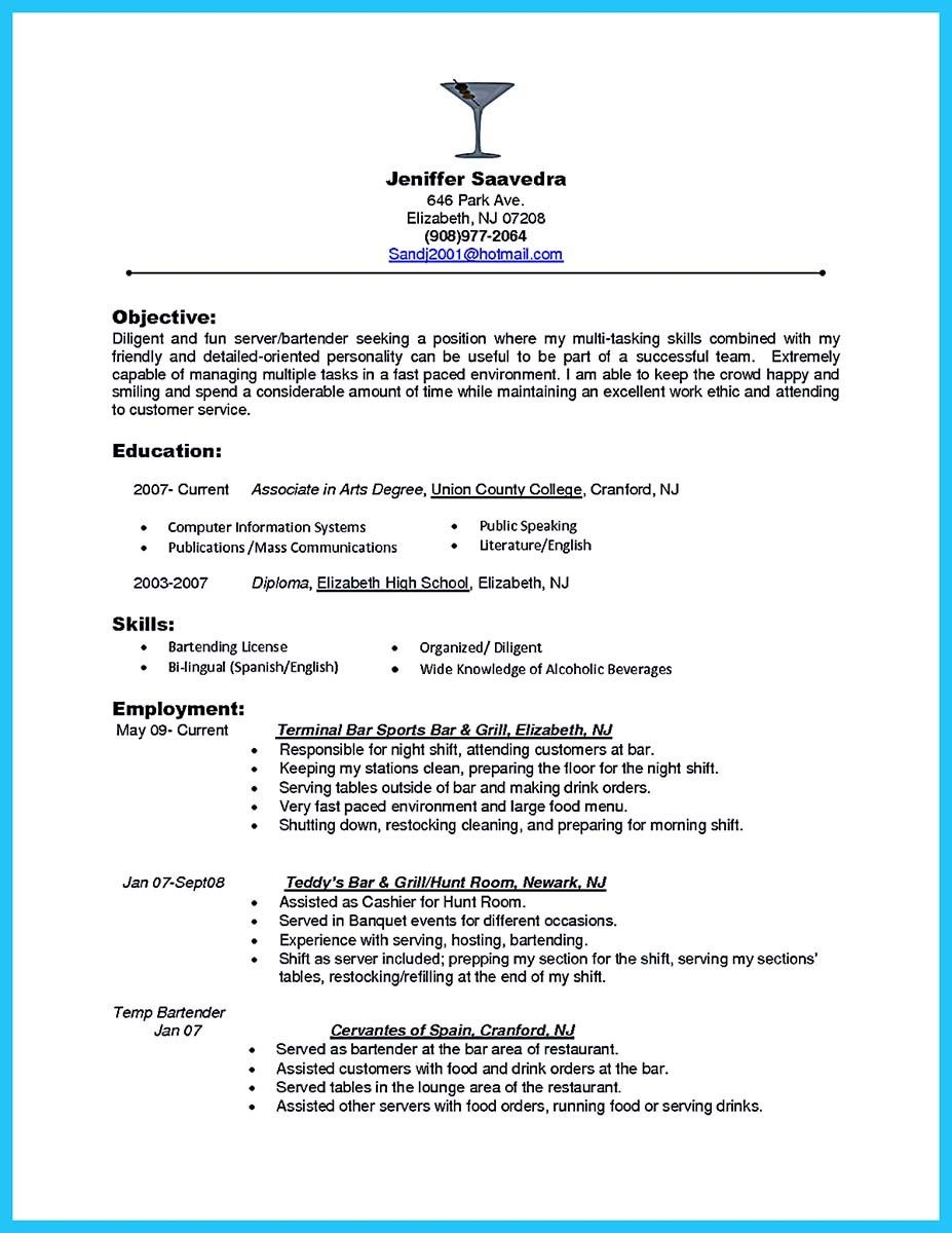 cool Impress the Recruiters with These Bartender Resume