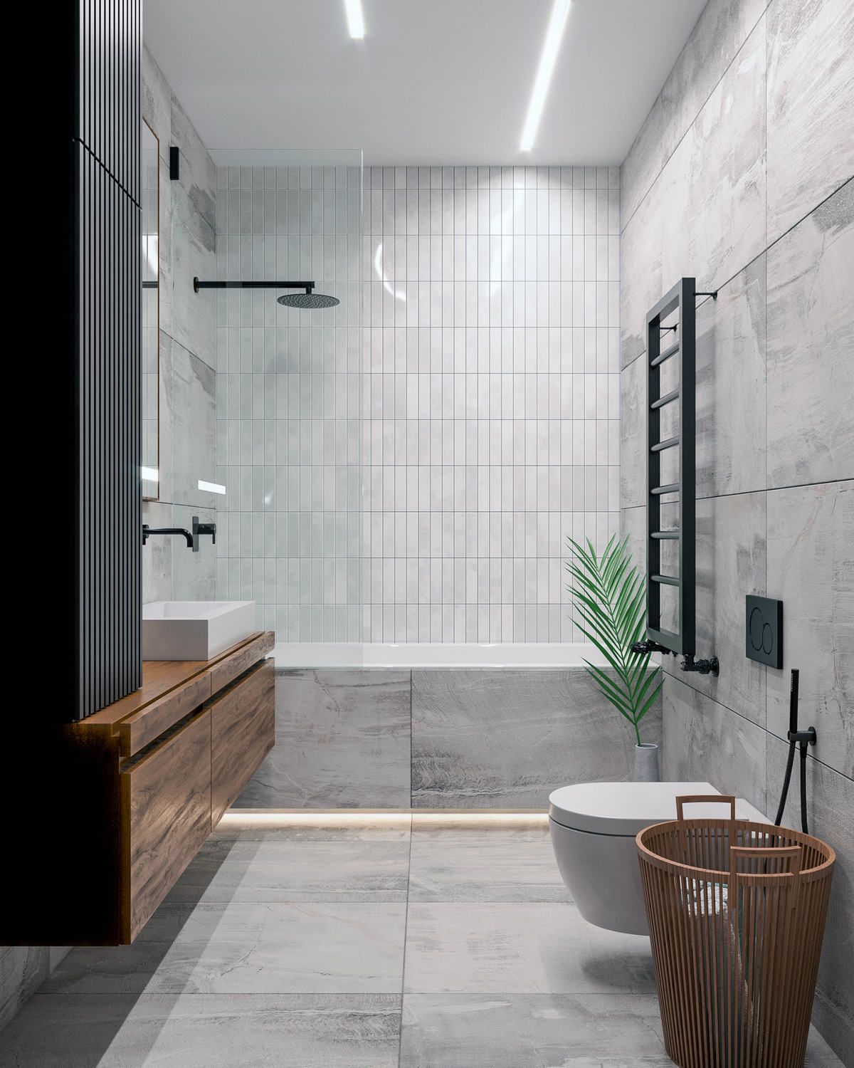 Large tiles horizontally and smaller, central …