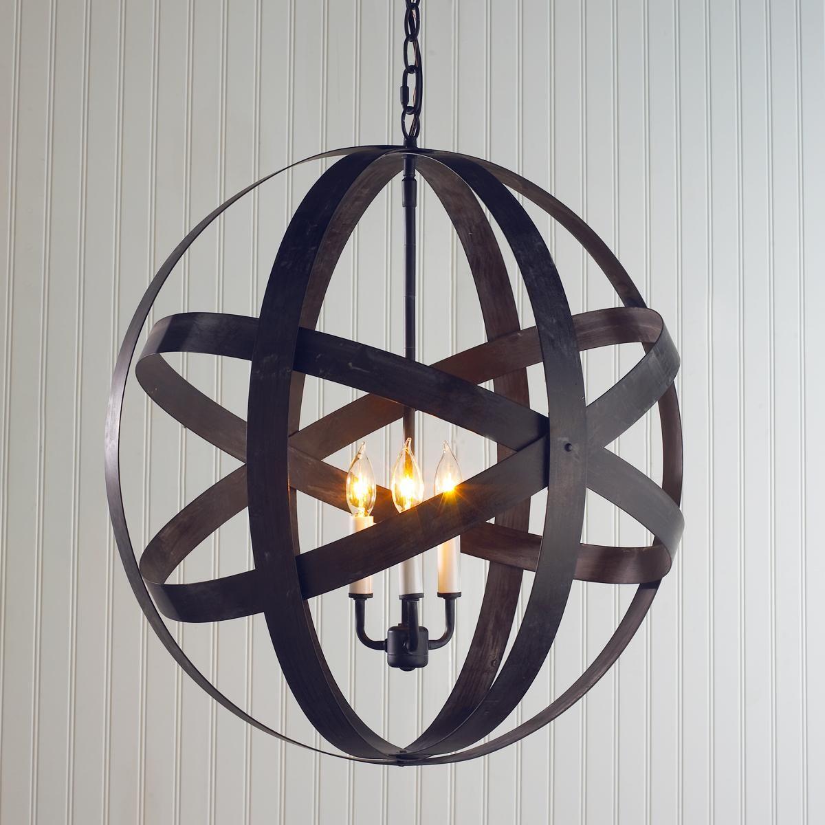 Metal Strap Globe Lantern