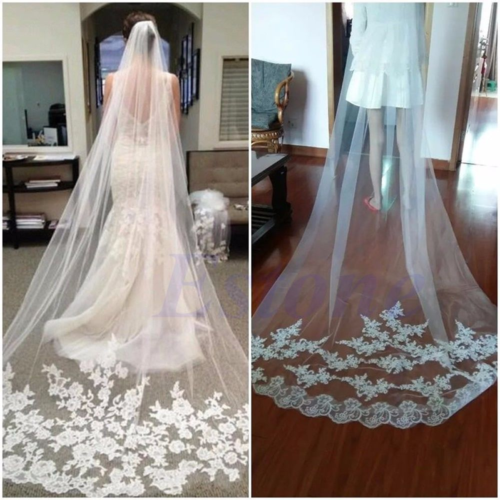 1 Layer White Cathedral Length Lace Edge Bride Wedding