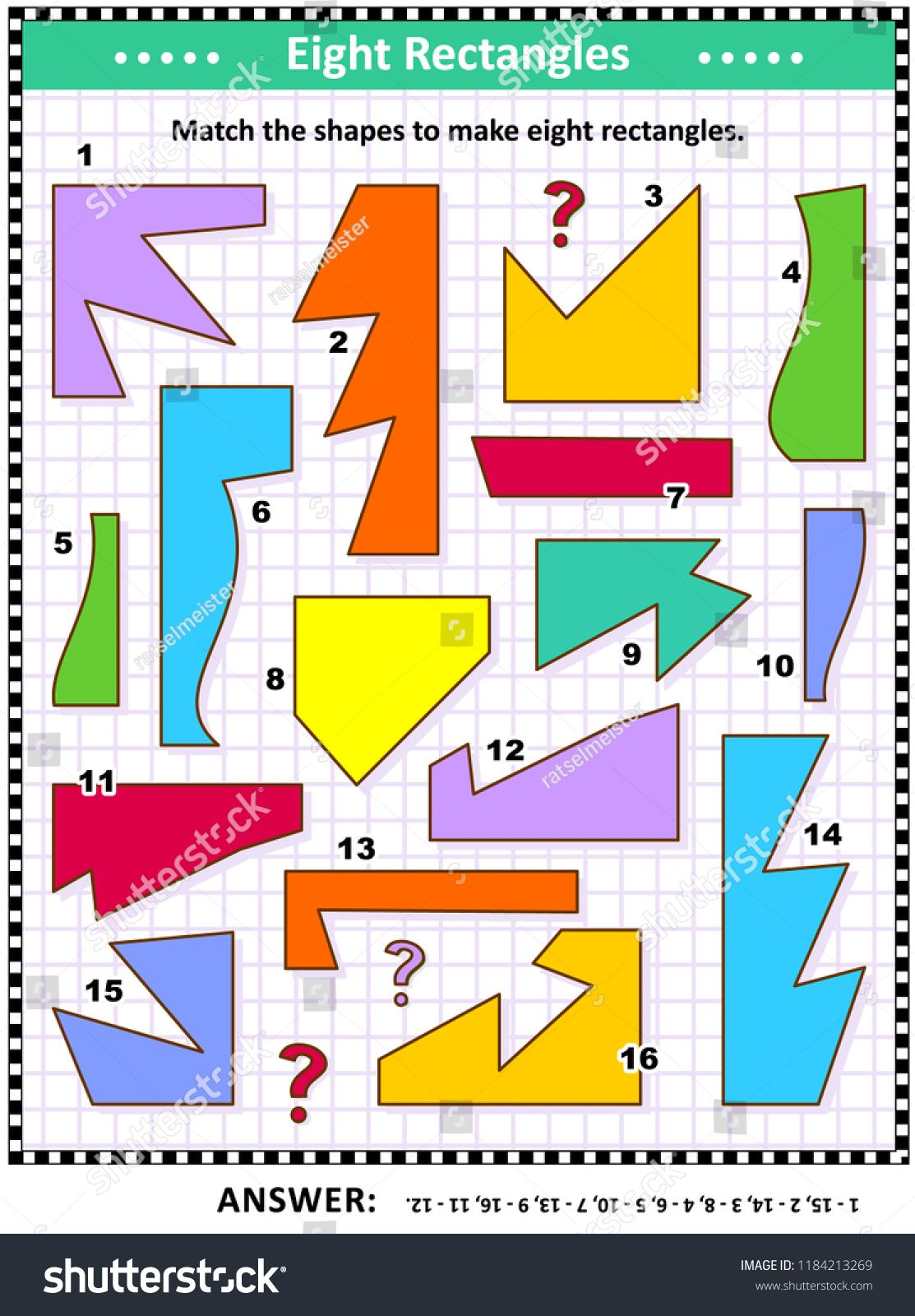 Iq And Spatial Skills Training Math Visual Puzzle Match