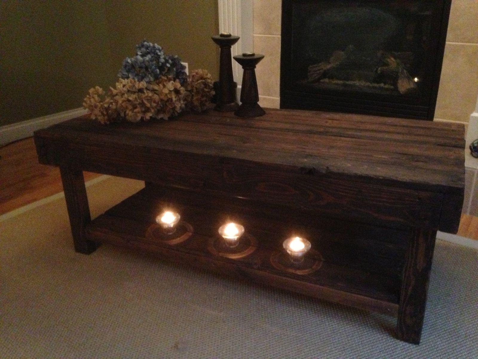 Superior Custom Made Dark Walnut Coffee Table With Lower Shelf