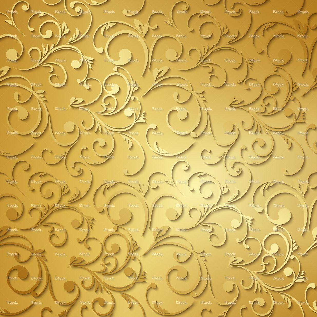 Luxury Golden Wallpaper Vintage Floral Pattern Vector Background Floral Wallpaper Floral Pattern Vector Golden Wallpaper