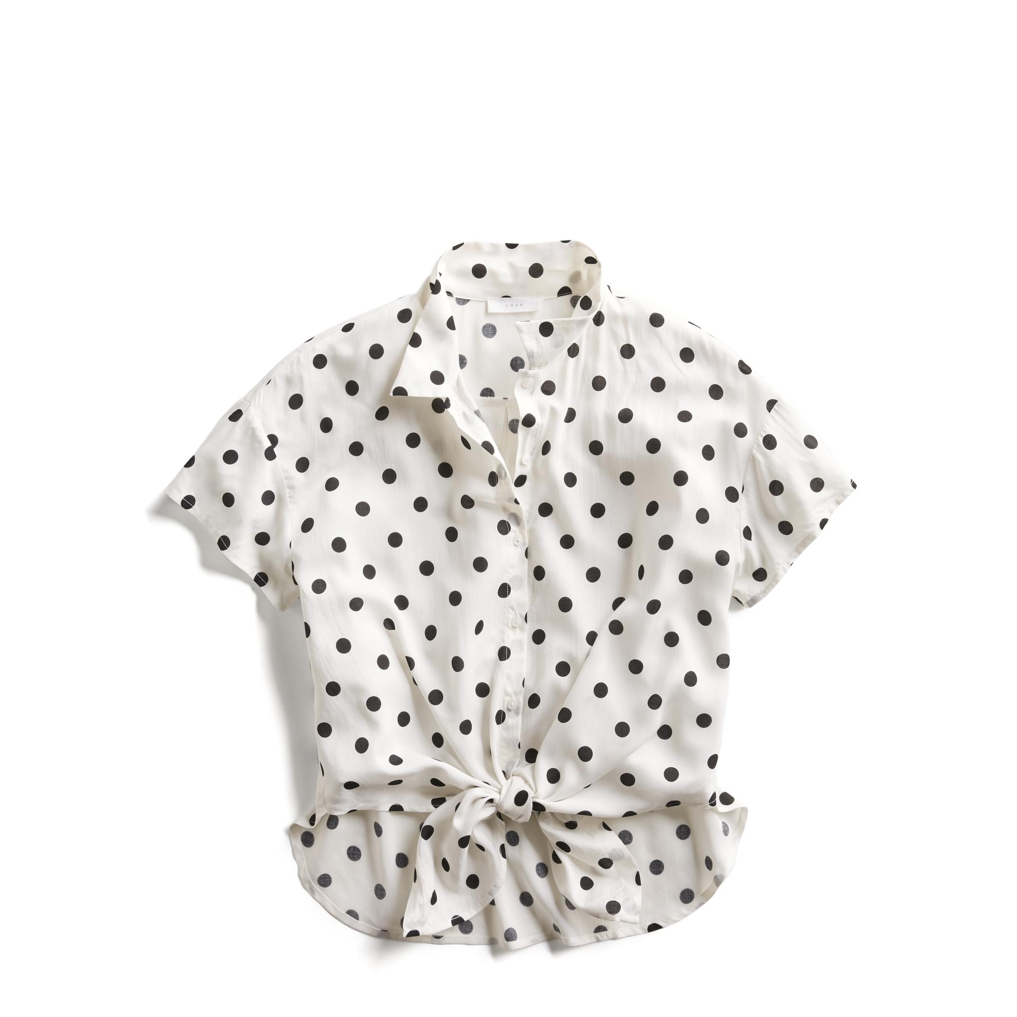 4e2bfeb2268d3f Stitch Fix Summer Stylist Picks: Casual Polka Dot Tie-Front Shirt ...
