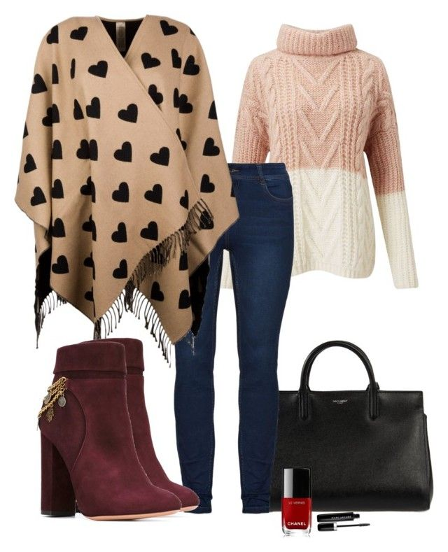 """""""Poncho and Denim"""" by ojomrs on Polyvore featuring Miss Selfridge, Yves Saint Laurent, Burberry, Aquazzura, Chanel and Marc Jacobs"""