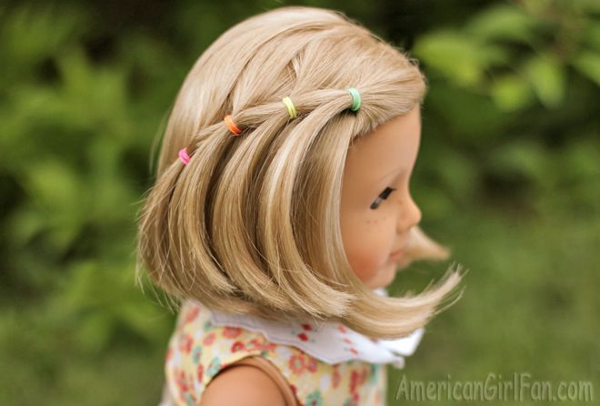 Doll Hairstyle: Elastic Waterfall For Short Hair! #babygirlhairstyles
