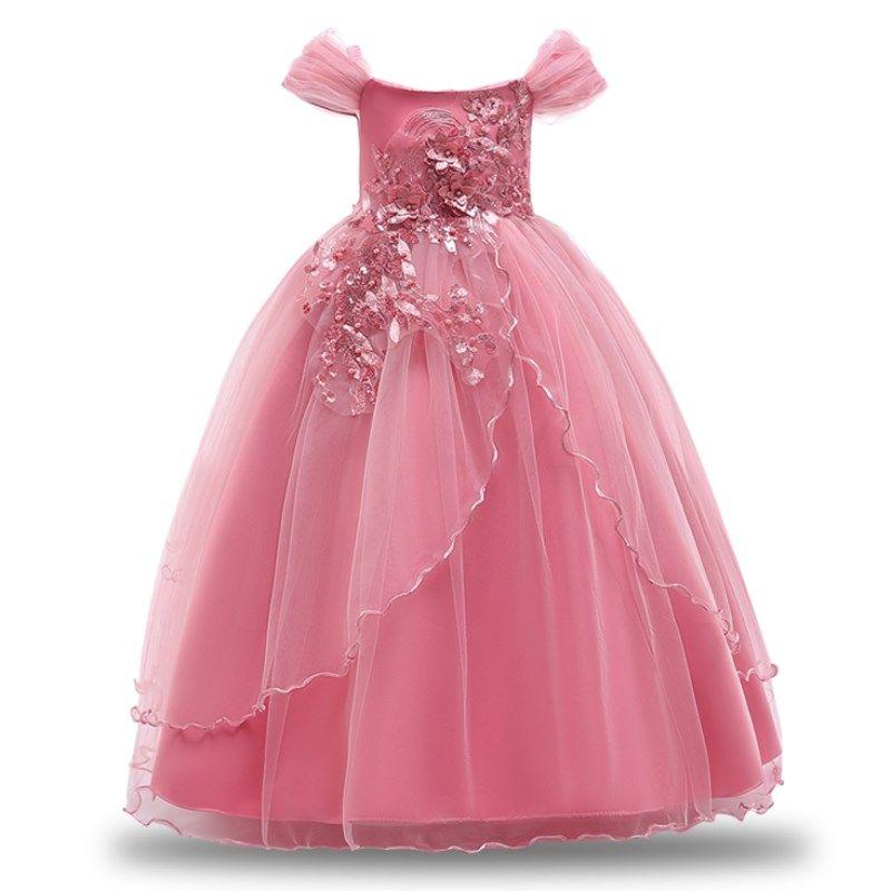 US Kids Princess Party Pageant Flower Wedding Dress School Prom Dance Long Dress