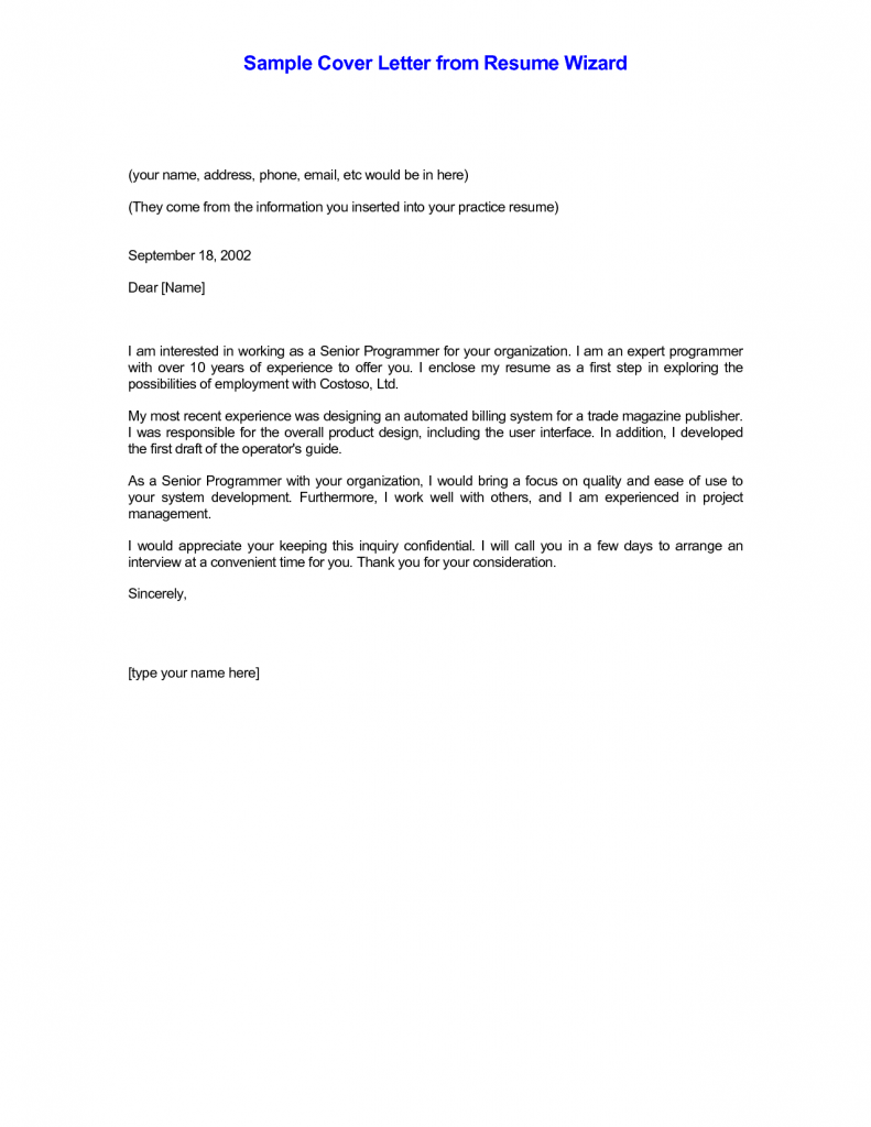 Cover letter samples of cover letters for resumes with for Cover letter for cv