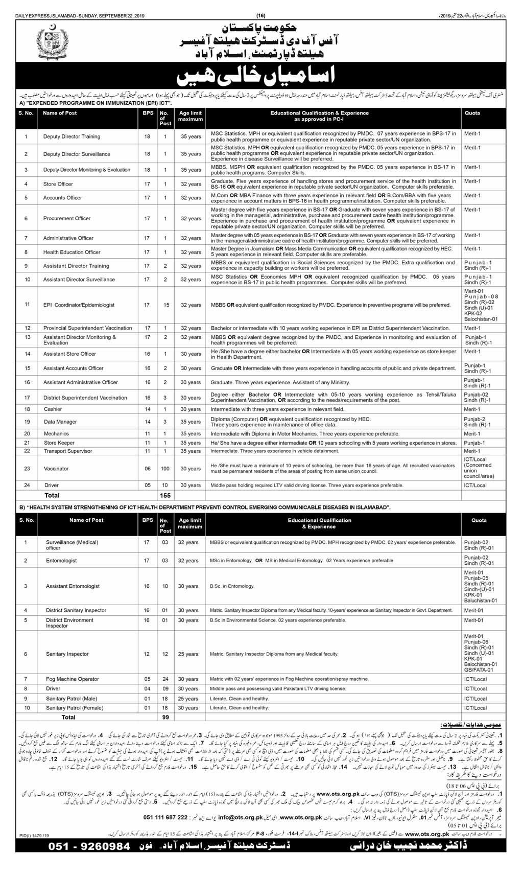 Government of Pakistan Health Department Islamabad Jobs