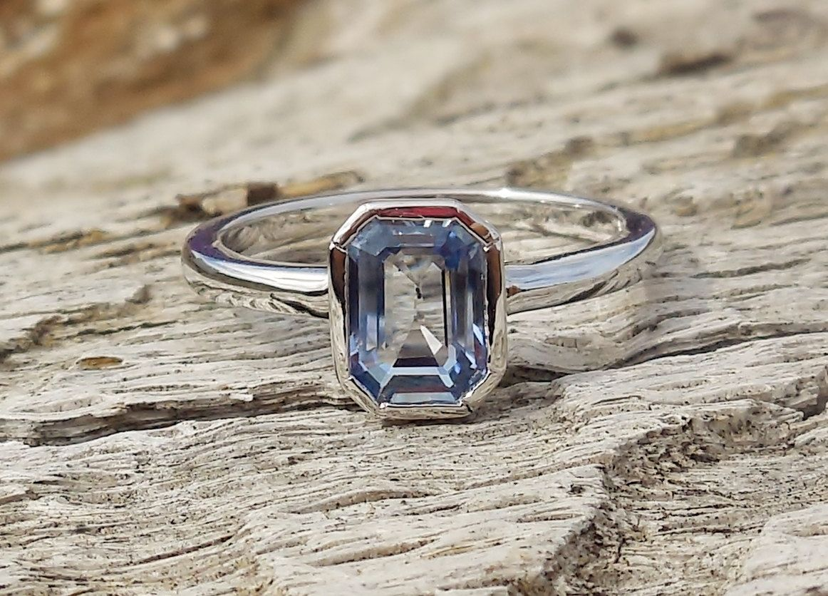 Unique Engagement Ring 1.10ct Natural Blue Sapphire 14k White Gold Bezel Set Modern Handmade OOAK by DiamondAddiction on Etsy
