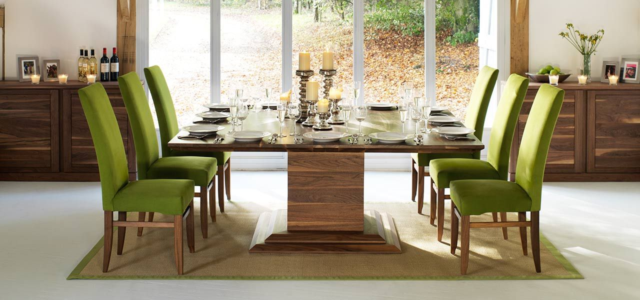 Dining Room   Square Table With Seating For 10 12   Love The Green Fabric