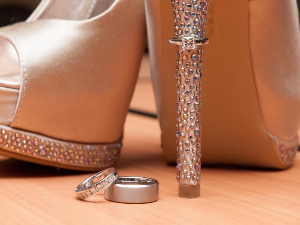 My Leo Engagement ring on the heel and my Leo wedding band