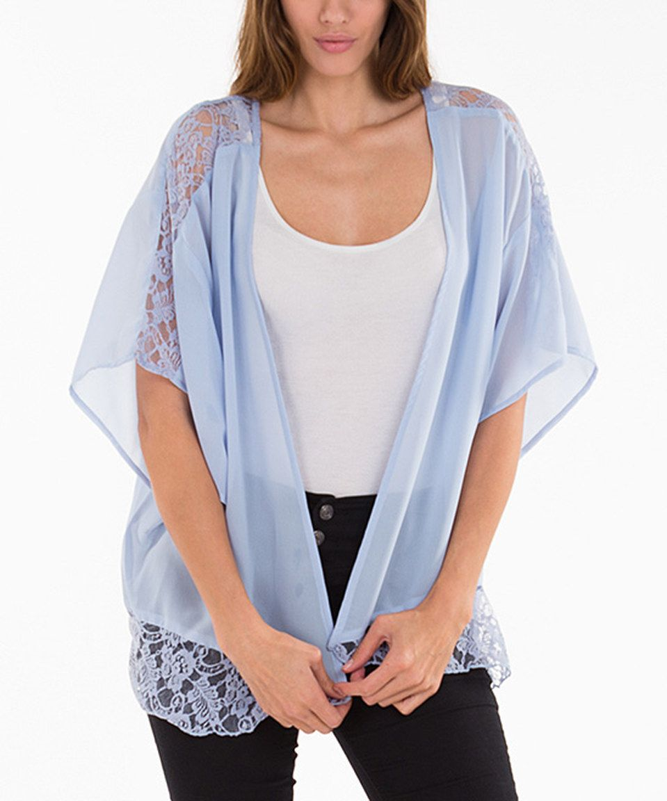 Look at this #zulilyfind! Corn Flower Blue Sheer Lace-Contrast ...