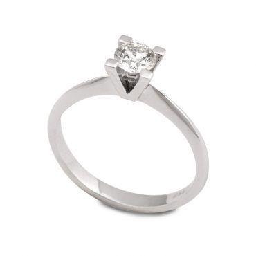 Δαχτυλίδι μονόπετρο για πρόταση γάμου με διαμάντι μπριγιάν από λευκόχρυσο  Κ18 σε λιτό δέσιμο  b6f211470d2
