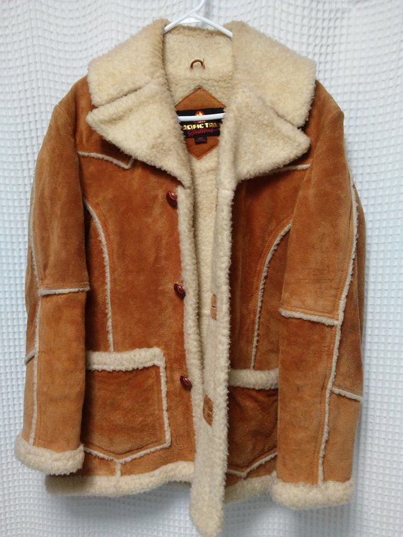 5bdab6ccfea4 vintage 70s Leather Sherpa Jacket Montana Ranchers coat Bohemian Boho suede  Mens size 42 Pacific Tra