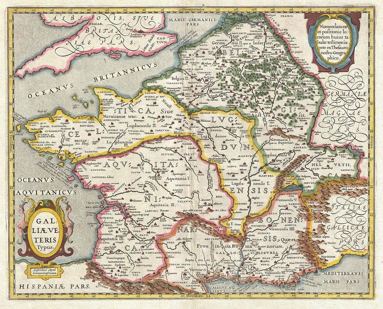 Carte Ancienne De La Gaule Romaine Carte De La Gaule Cartes Anciennes Art Carte