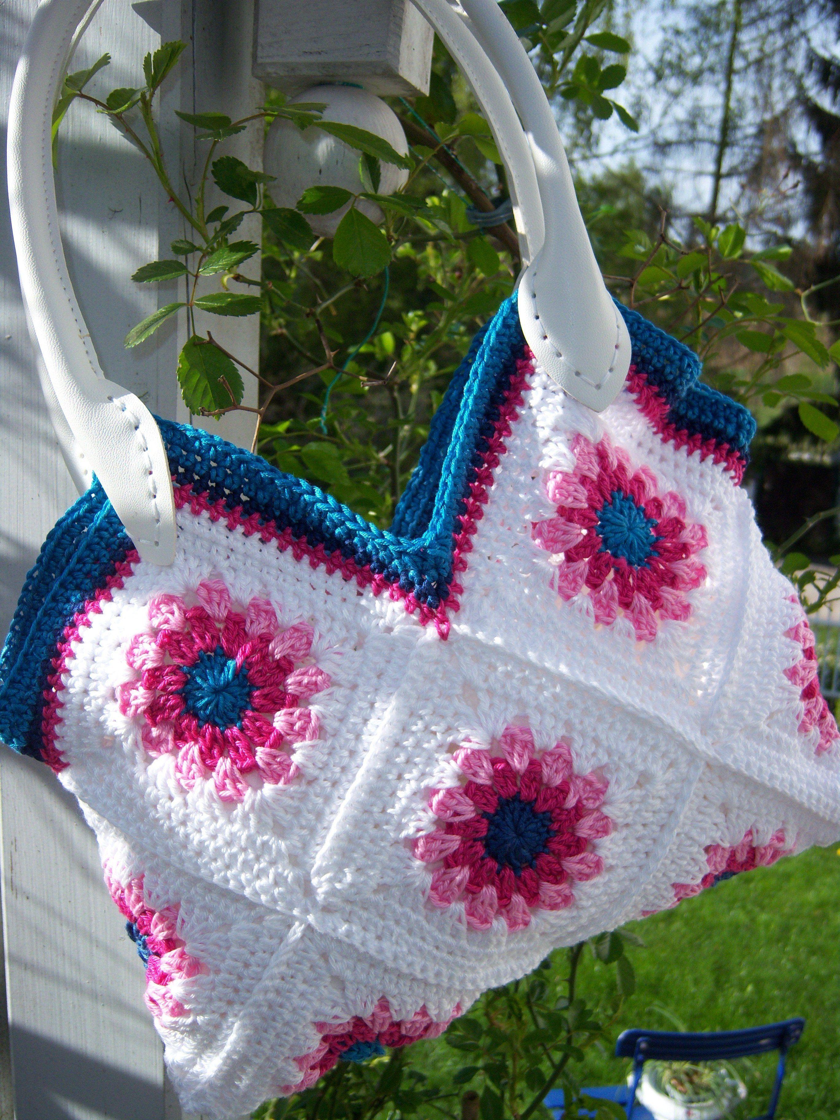 Sommerliche Tasche Mit Ledergriffen Design Gerlinde Gebert