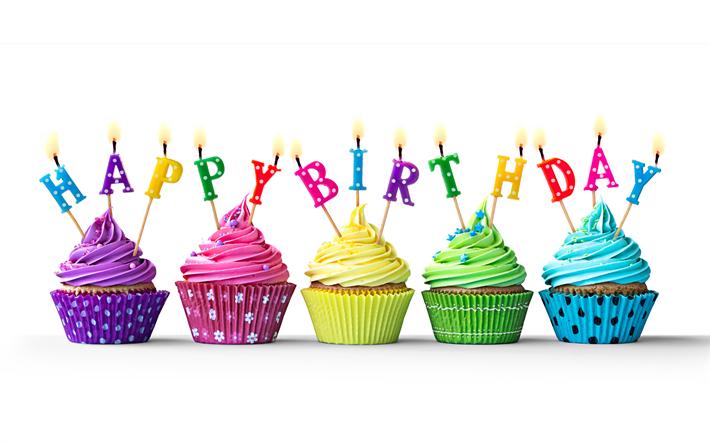 Descargar Fondos De Pantalla Feliz Cumpleaños, Velas De Cumpleaños,  Cupcakes, Felicitaciones, Tortas
