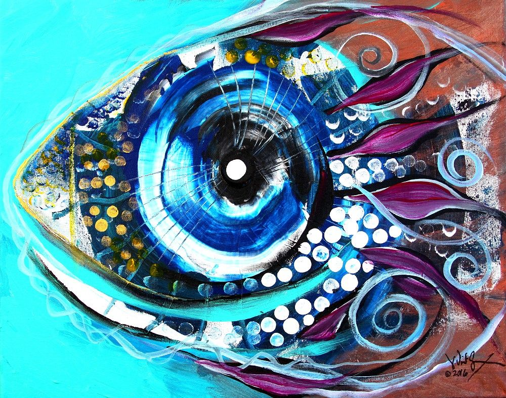 Felix murillo lleno de colores painting acrylic artwork fish art - Paintings Modern Abstract Fish Art Acrylic On Stretched Canvas 16 20 Inches