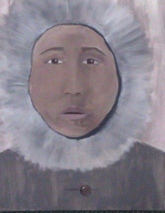 ORIGINAL Art Abstract Portrait Painting Erica Holmes 16 x 24 Acrylic unframed  #IllustrationArt