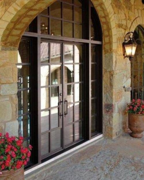 This entrance way puts a country twist on French doors. L | home ...