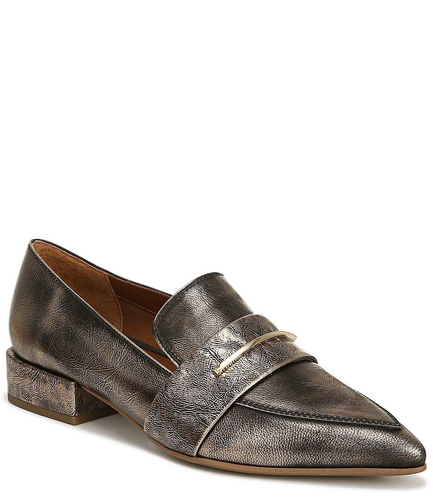 Franco Sarto Wynne Metallic Leather Block Heel Dress Loafers | Dillard's
