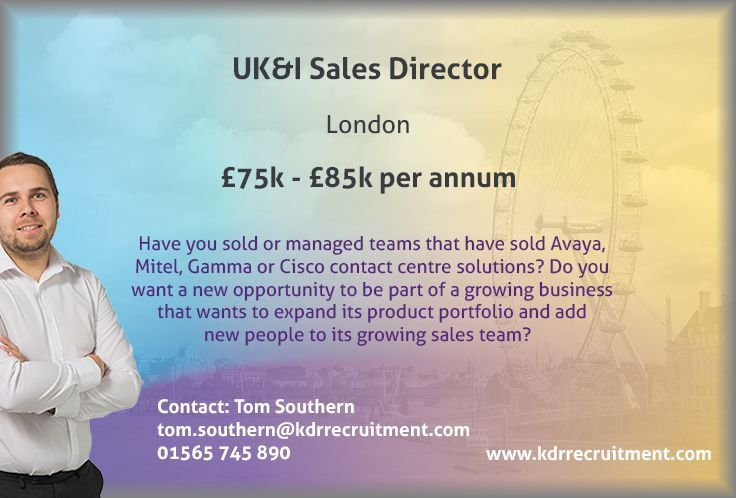 **NEW JOB** UK&I Sales Director needed in London. To