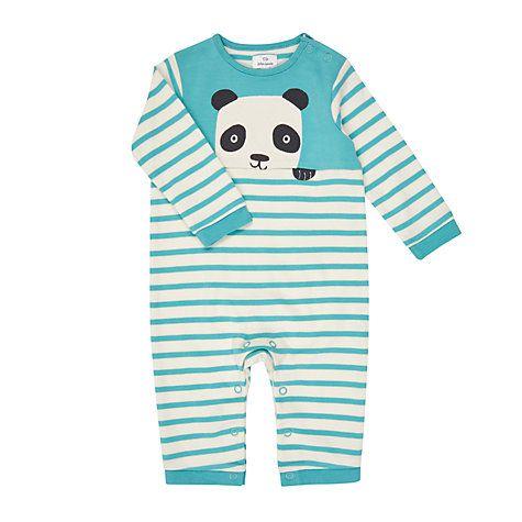 008ec30df443 Buy John Lewis Baby Stripe Panda Long Sleeve Romper