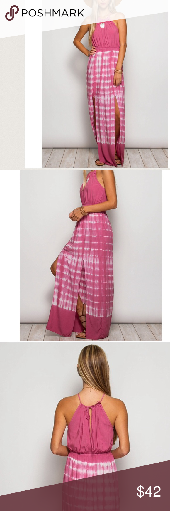 Shoes for pink dress  Buy  Freeuc Rose Tie Dyed Halter Maxi  Dress models Halter