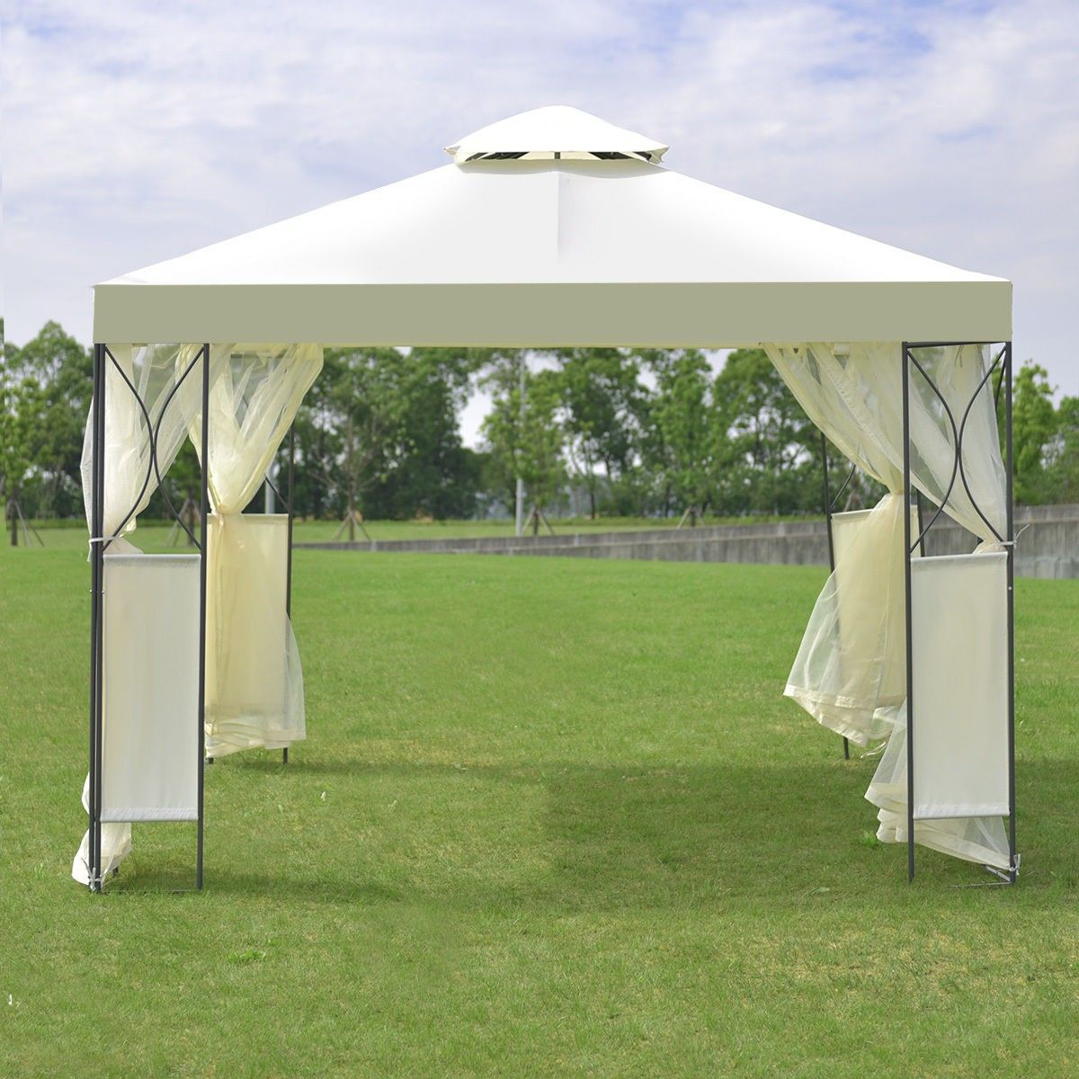 2 Tier 10 X 10 Patio Steel Gazebo Canopy Shelter Steel Gazebo Gazebo Canopy Canopy Tent