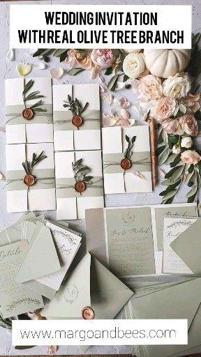 Wedding invitation with real olive tree branch perfect for Italian wedding  – Katinka & Maumau