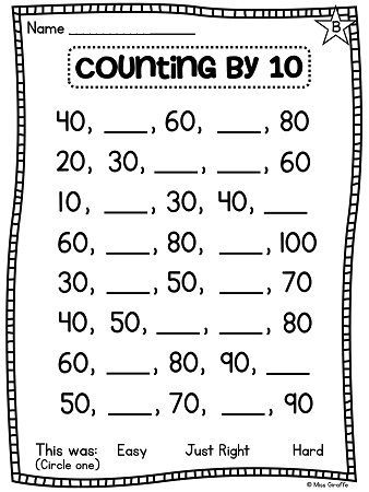 Skip counting by 10 worksheets for grade 1