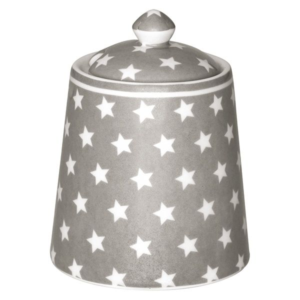 GreenGate Stoneware Sugar Pot Star Warm Grey H 10 cm   NEW! Autumn/Winter 2014   Originated-Webshop