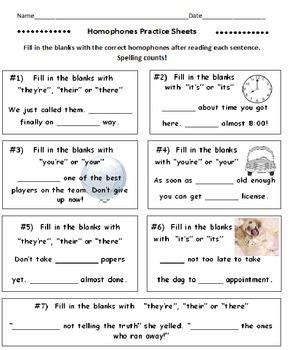 Homophones Practice Sheets (5 Worksheets) | Education ...