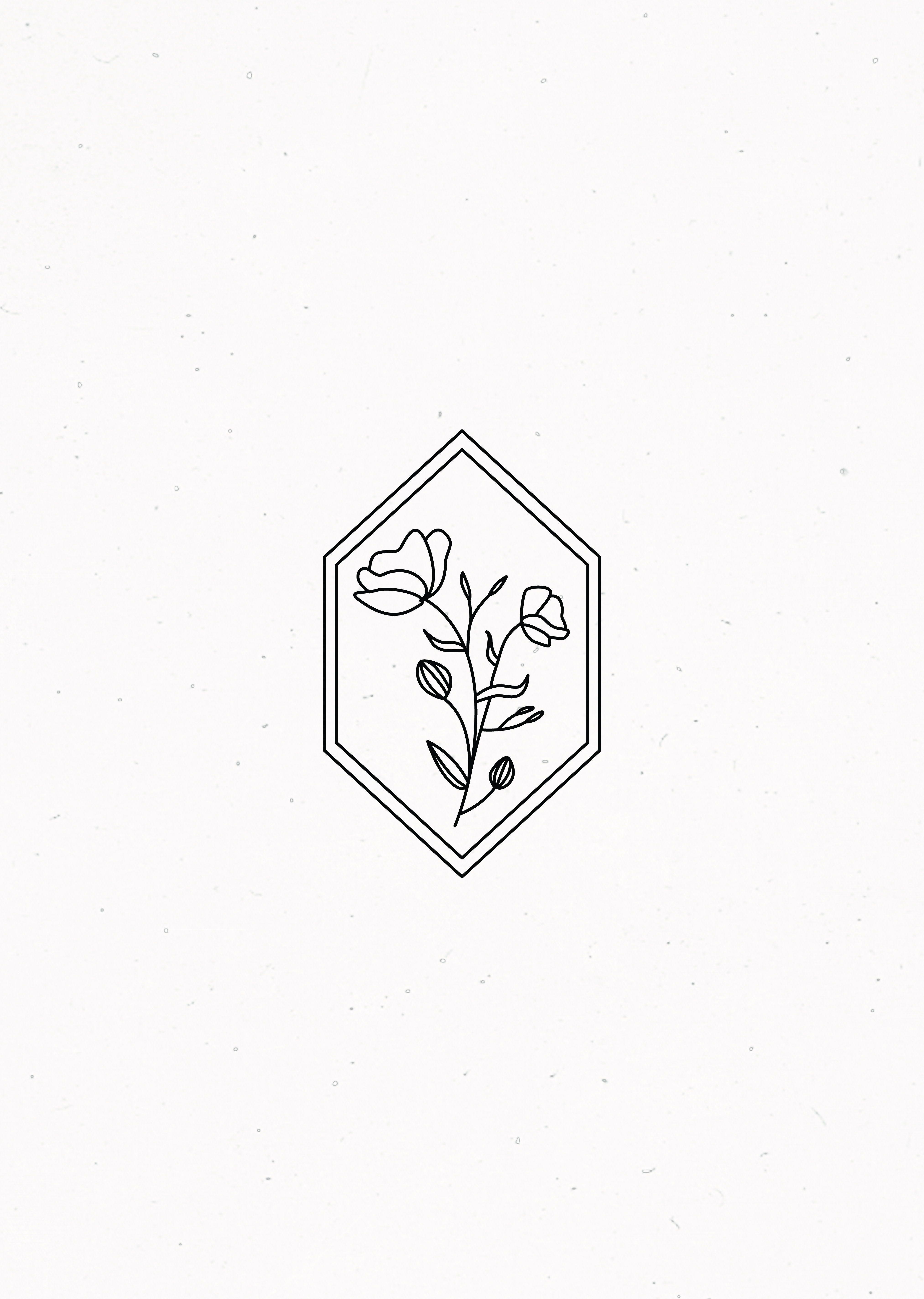 Floral Geometric Illustration Floral Drawing Tattoos Minimalist Drawing
