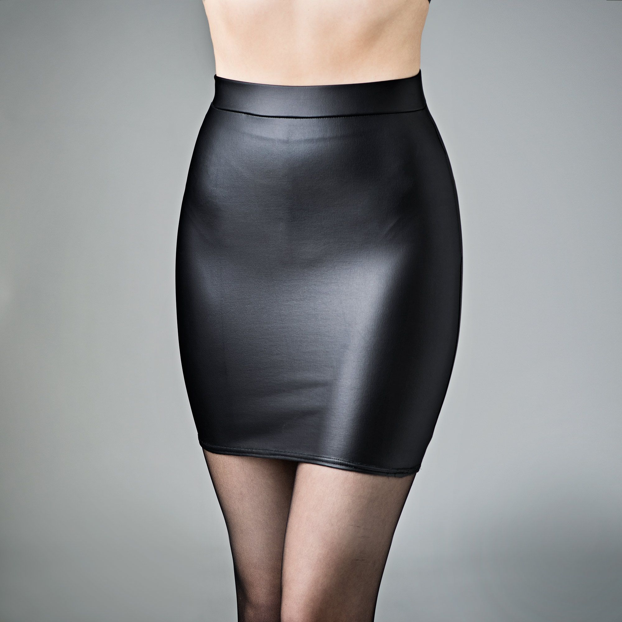 skintight matte leather look miniskirt spandex black | black ...