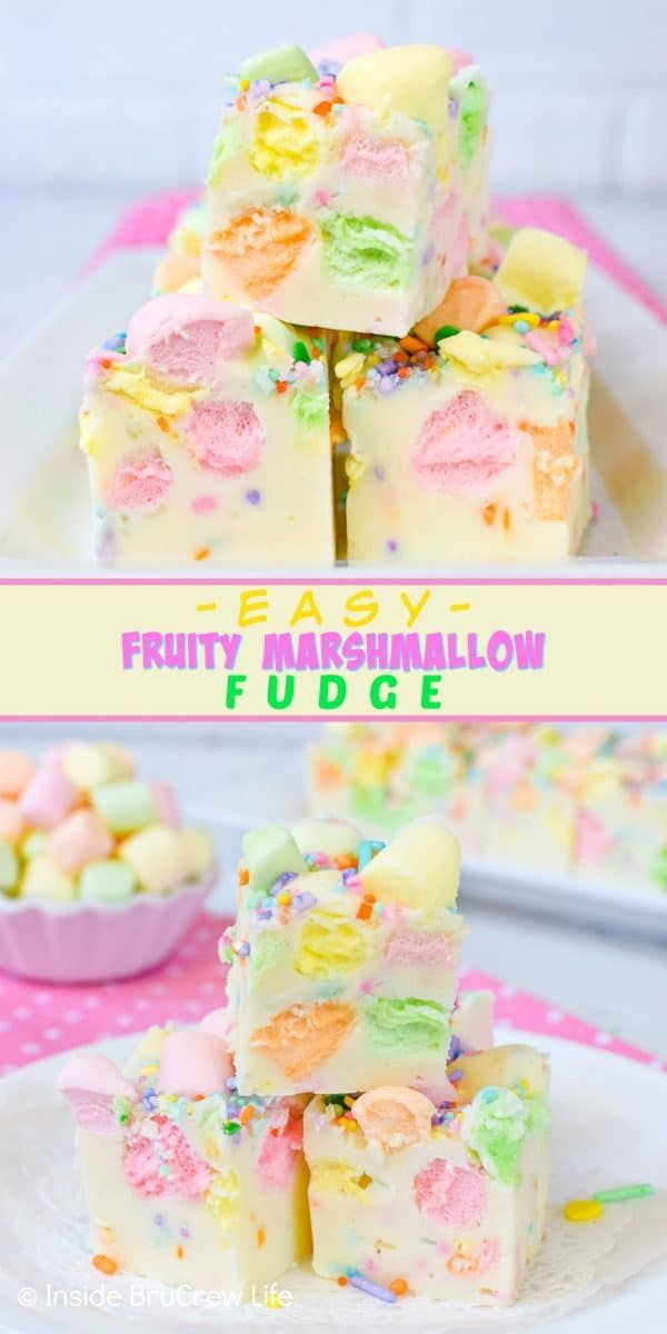 Easy Fruity Marshmallow Fudge - sprinkles and colorful marshmallows add a fun pop of color to this two ingredient fudge.  Try this easy fudge recipe for spring parties!  #easter #twoingredientfudge #fudge #whitechocolate #fruitymarshmallows #easterfudge #marshmallow